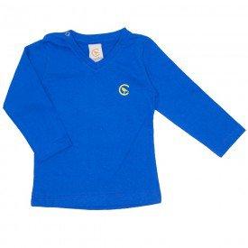 camiseta azul manga longa decote v 15 1001