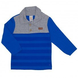 camiseta polo manga longa azul royal 15 3003