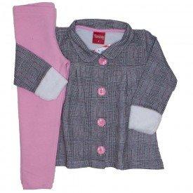 conjunto parka xadrez punhos em pelo legging molecottton rosa 4254