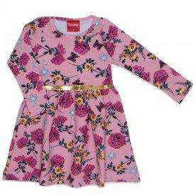 vestido molecotton com cinto glitter floral rosa 4259