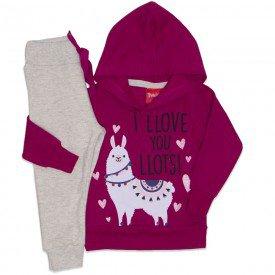 conjunto casaco moletom capuz silk lhama jogger moletom bordo 4251