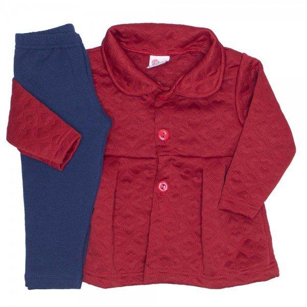 conjunto casaco matelasse legging molecotton coral 19001