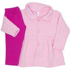 conjunto casaco matelasse legging molecotton rosa 19001