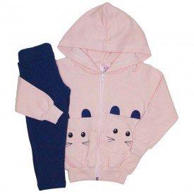 conjunto jaqueta moletom c capuz e leeging molecotton rosa bebe coelhinho 19039