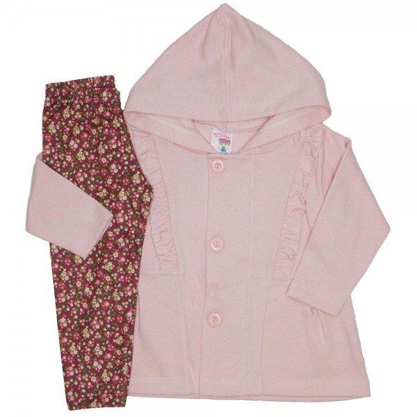 a96f0f00d conjunto casaco moletom capuz e babado legging estampada rosa bebe 19046