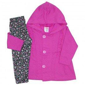 conjunto casaco moletom capuz e babado legging estampada rosa bebe 19046