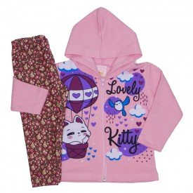 conjunto jaqueta moletom capuz legging tl estampado rosa 19008