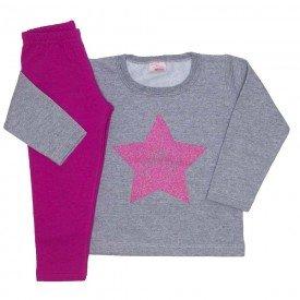conjunto blusa moletom estampa glitter legging molecotton mescla 19038