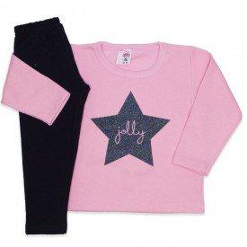 conjunto blusa moletom estampa glitter legging molecotton rosa 19038
