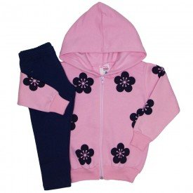 conjunto jaqueta moletom estampa e capuz legging molecotton rosa 19032