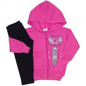 conjunto jaqueta moletom bolso e capuz legging molecotton pink 19031