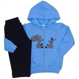 conjunto moletom jaqueta capuz calca bolso embutido azul 19137