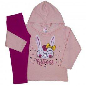 conjunto moletom blusa com capuz legging molecotton coelhinho rosa bebe 19044