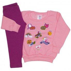 conjunto blusa moletom estampada legging molecotton rosa 19043