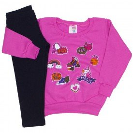 conjunto blusa moletom estampada legging molecotton pink 19043