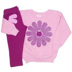 conjunto moletom com brilho legging molecotton bolso rosa 19006