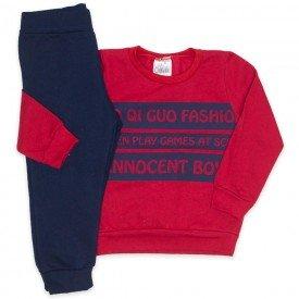 conjunto blusa vermelha fashion e calca marinho 1096