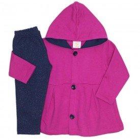 conjunto bata moletom c capuz legging molecotton pink 19002