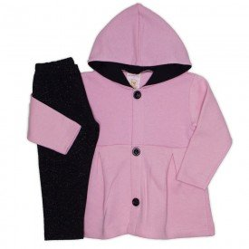 conjunto bata moletom c capuz legging molecotton rosa 19002