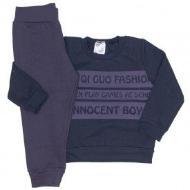 conjunto blusa preta fashion e calca chumbo 1096