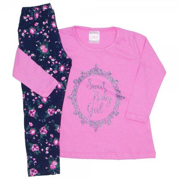 conjunto camiseta sweet baby girl rosa e legging floral 1079