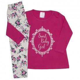 conjunto camiseta sweet baby girl pink e legging floral 1079