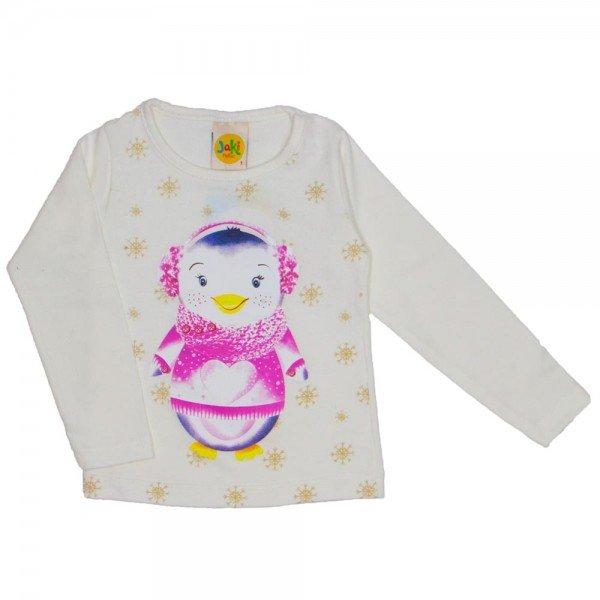 blusa menina pinguim winter creme 9509