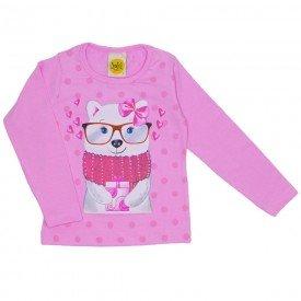 blusa menina urso winter rosa 9509