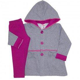 conjunto casaco capuz franja pom pom e botoes legging molecotton mescla 19048
