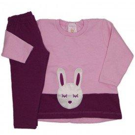 conjunto moletom com bordado legging molecotton coelhinho rosa 19004