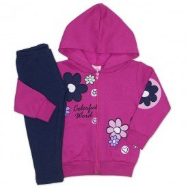 conjunto jaqueta moletom capuz e estampas legging molecotton pink 19035