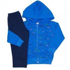conjunto moletom jaqueta capuz punho calca recorte frontal azul 19157