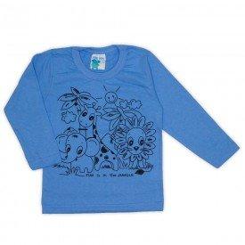 camisa meia malha azul 19144