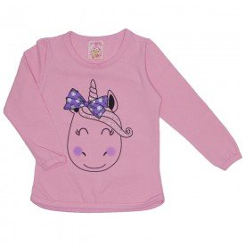 blusa cotton c strass e manga c friso rosa 19014