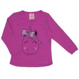blusa cotton c strass e manga c friso pink 19014