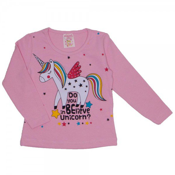 blusa cotton com strass unicornio rosa 19015