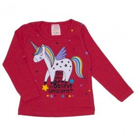 blusa cotton com strass unicornio coral 19015