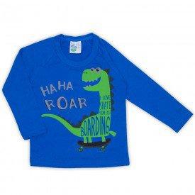 camisa meia malha manga raglan dinossauro azul 19146
