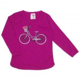 blusa cotton manga com friso e strass bicicleta pink 19051