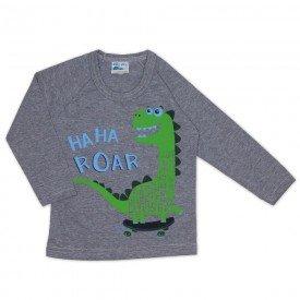 camisa meia malha manga raglan dinossauro mescla 19146