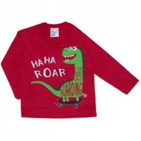 camisa meia malha manga raglan dinossauro coral 19146