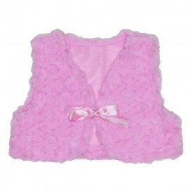 colete pele com fita cetim rosa 19073