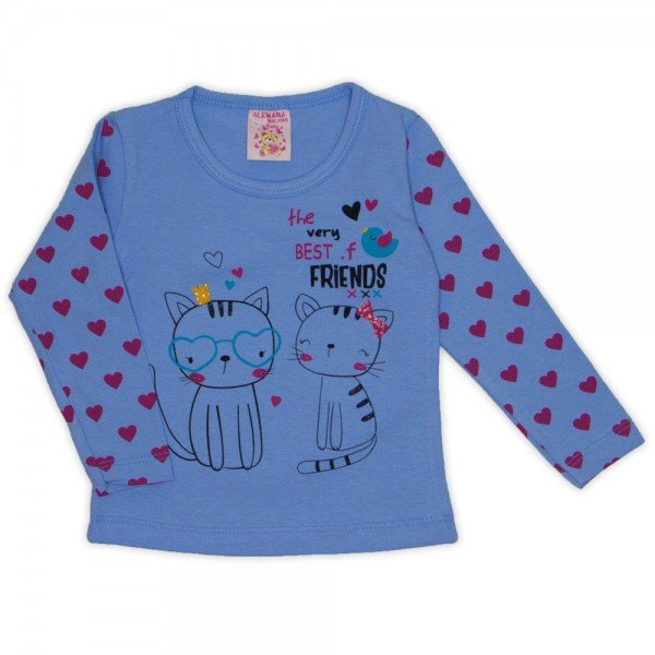 blusa cotton c strass e manga estampada azul 19013