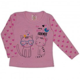blusa cotton c strass e manga estampada rosa 19013