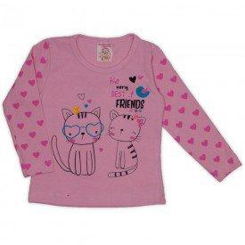 blusa cotton c strass e manga estampada rosa 19013