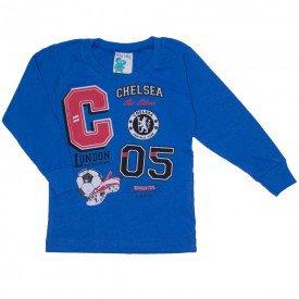 camisa meia malha com punho azul 19142