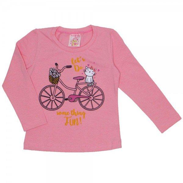 blusa cotton com strass bicicleta rose 19016