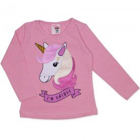 blusa cotton com bordado unicornio rosa 19054