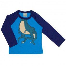 camiseta manga longa raglan dino azul 8190