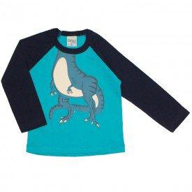 camiseta manga longa raglan dino verde 8190